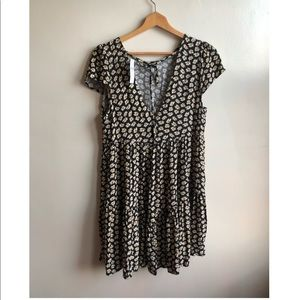 Daisy Print Babydoll mini Dress